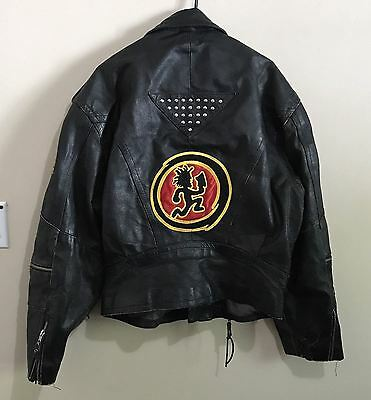 LARGE Juggalo Hatchetman Black Leather Motorcycle Jacket Insane Clown Posse ICP
