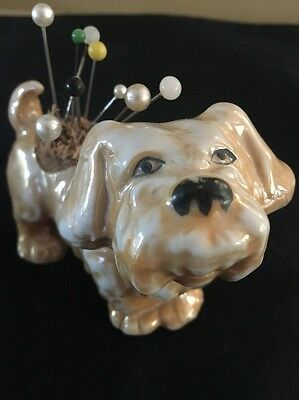 Vintage Lusterware Dog ~ Pin Cushion ~ JAPAN