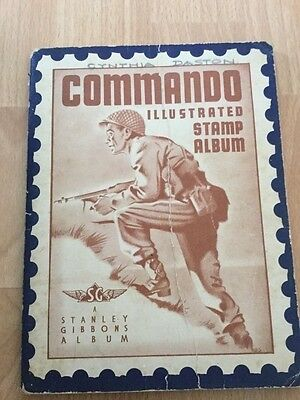 Stanley Gibbons Commando stamp album and over 100 stamps