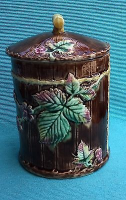 Antique majolica pot and cover by George Jones ?