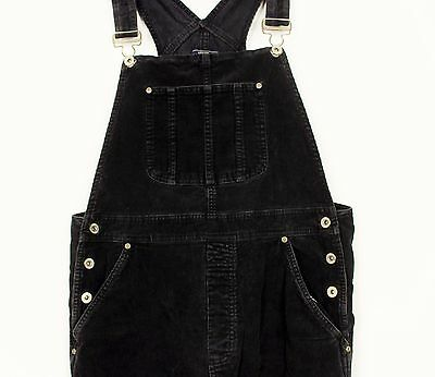 Vintage Ladies Black Corduroy Baggy Dungarees  Festival Womens Grunge Overalls L