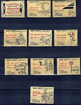 FPA MATCHBOX LABELS-UK No.28- Masters Army & Navy, Road safety ,set, 1950's