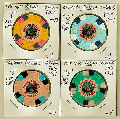 XXXRare Caesars Palace GRAND PRIX CHIP SET (4) 1981...LV. NV.
