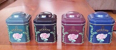 4 Miniature Jackson's Of Piccadilly Tea Tins 4 Different