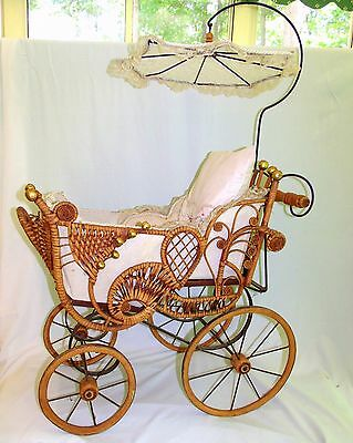 Antique Large Wicker DOLL Baby Carriage Buggy with Parasol Umbrella Doll Buggy