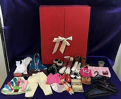 """American Girl Organizer Red Drawers Doll Closet Label 21""""x16""""x5"""" RETIRED w/Extra"""
