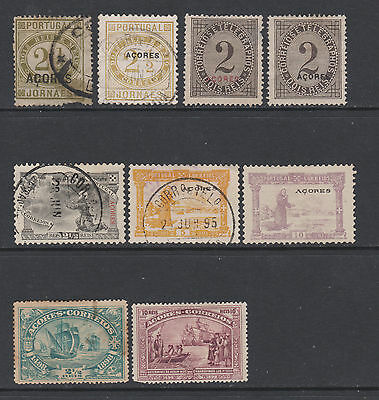 Azores from 1876 - collection of 9 mint & used stamps