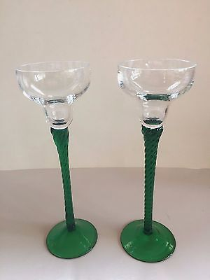 Glass Candlestick Holders X 2 With Green Twisted Stems & Base