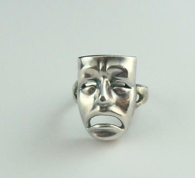Vintage Unusual F & S Signed STERLING Silver TRAGEDY Mask RING Size 5