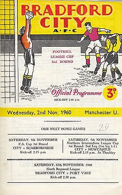Bradford City v Manchester United 1960 League Cup 2nd Round.
