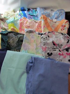 Huge Lot Women's Scrubs Tops and Pants Lot of 16 Assorted Size Small and X-Small