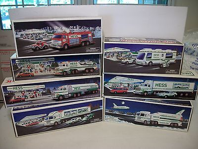 (7) different Hess Toy Trucks Gas Station Oil Premiums Promo MIB Lot NICE!