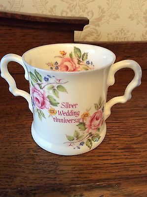 25th SILVER WEDDING  ANNIVERSARY  BONE CHINA LOVING CUP