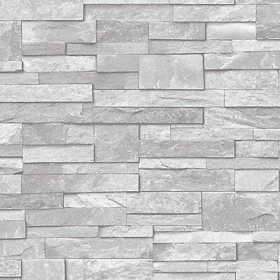 New Natural Stone Brick Slate Effect Vinyl Wallpaper Ideco Grey A17202
