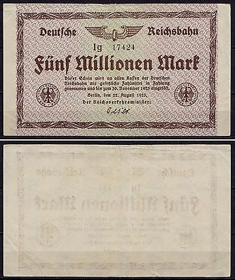 Reichsbahn Berlin 5 Million Mark 1923 Serie Ig  (ca985