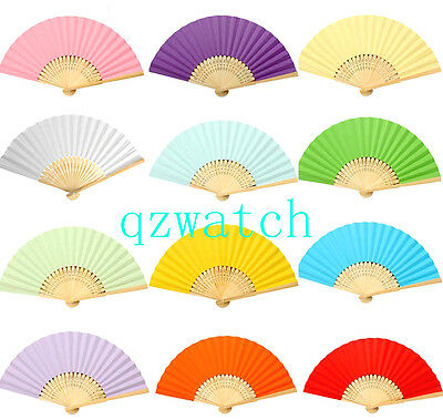 10 x Summer Bamboo Hollow Outdoor Folding Colorful Paper Hand Fans Wedding Favor