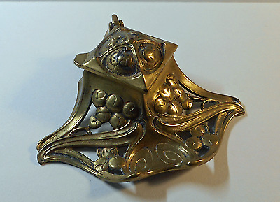 Antique Cast Brass Art Nouveau Ink Stand with Original Glass Liner