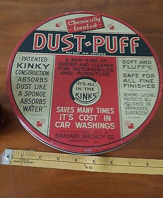 Standard dust Puff  metal oil can petroleum gas collectible auto