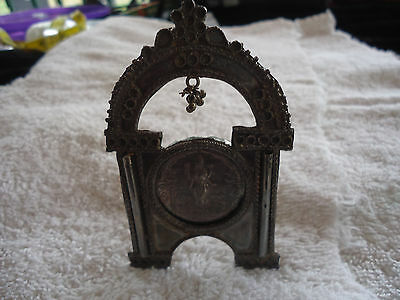 Antique Hand Made Etruscan Solid Silver Picture Frame With Coin From India