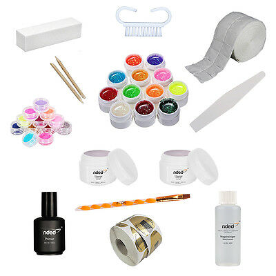Kit Ricostruzione Unghie Nded Germany Gel Uv Lime Glitter Nail Art Senza Lampada