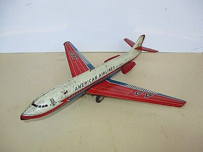 Vintage AMERICAN AIRLINES AA Caravelle Jet Liner Airplane Tin Friction Toy HAJI