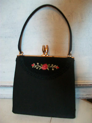 Vintage 1950s rose embroidery evening bag, good condition
