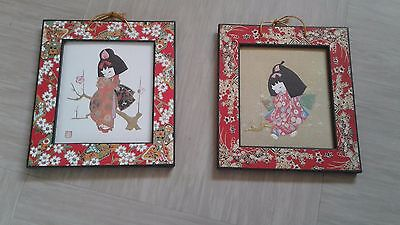 two vintage Japanese pictures with seals