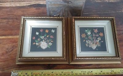 Pair vtg miniature shell floral shadow box framed pictures 5.5 inches square