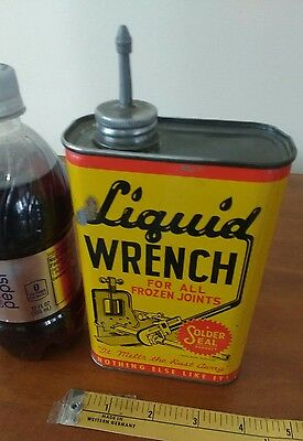 Liquid wrench empty pint metal motor oil can petroleum gas collectible auto