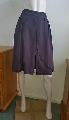 REISS skirt Size 12 a-line curtain fold pleat front slit lilac violet midi lined