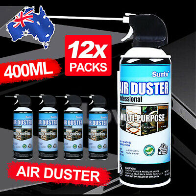 12x 400ml Compressed Air Duster Cleaner Can Canned Laptop Keyboard Mouse Phones
