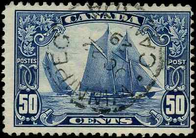 Canada #158 used F 1929 Scroll Issue 50c dark blue Bluenose 'Winnipeg' SONCDS