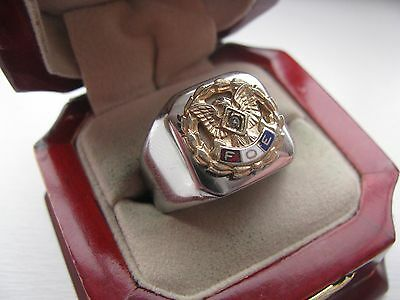 Superb NEW! Mens Fraternal Order of Eagles Crest Stainless Steel Silver Ring