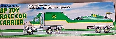 "BP  Toy Race Car Carrier Truck Limited 1993 Edition About 12"" Long (AG)"