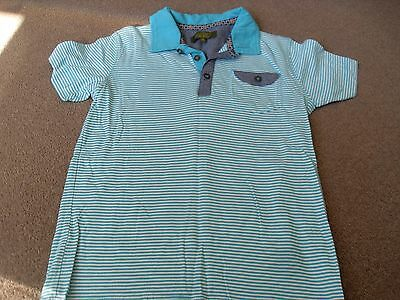 Boys   Greeny Blue Striped Ted Baker Polo Shirt Age 7-8 Years