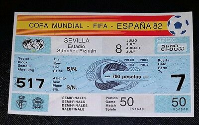 Espana 82 Original 1982 world cup France v West Germany semi unused ticket