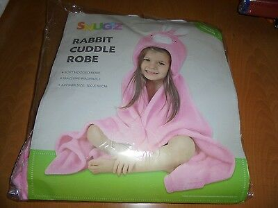 soft hooded pink rabbit cuddle robe suitable from birth new