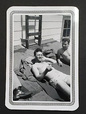 Vintage 1951 Photo Handsome Men Shirtless Swim Trunks Tanning Fit Gay Interest