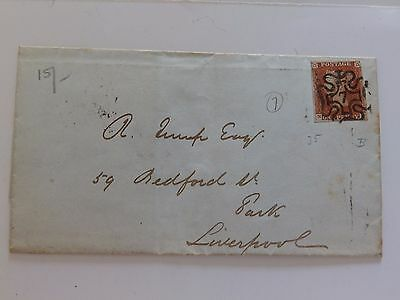 (C1) 1843 1d IMPERF COVER WITH NUMBER 7 IN MALTESE CROSS CANCEL