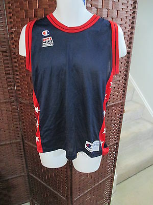Vtg Champion USA Dream Team Blank Olympic Basketball Jersey Youth XL 18-20