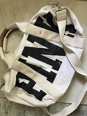 Pink Victoria's Secret Canvas Duffle Weekend Bag White Black Love Pink Gym Sport