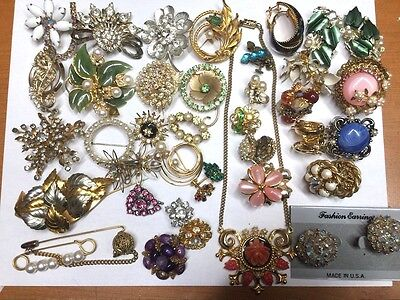 Lot of Jewelry Pin Brooch Earrings Necklace AS IS Sparkle Stones #lot18