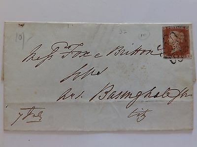 (C3) 1843 1d IMPERF COVER WITH NUMBER 10 IN MALTESE CROSS CANCEL