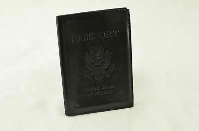 Samsonite Black Leather USA United States of America Passport Holder Cover Walle