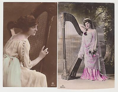 2 Lady with Harp , Postcards
