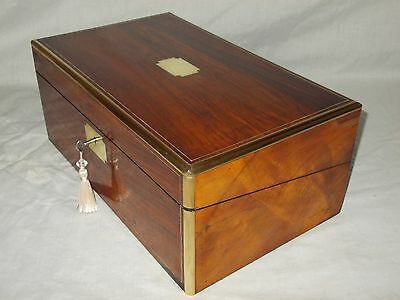Antique Victorian Mahogany Brass Bound Writing Slope Box 2 Secret Drawers