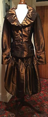 VINTAGE 1980's LADIES BRONZE METALLIC PUFFBALL 3 PIECE SKIRT SUIT BY MOLLY-JO