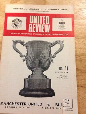 Manchester United V Burnley Oct 1969 League Cup 4th Round Replay