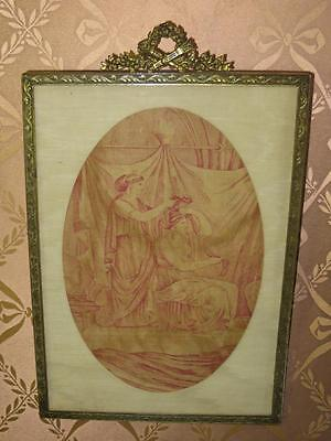 French Antique Toile de Jouy Framed Picture.