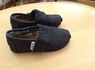 Baby Girls Black TOMS Sparkly Party Shoes. Size 5T
